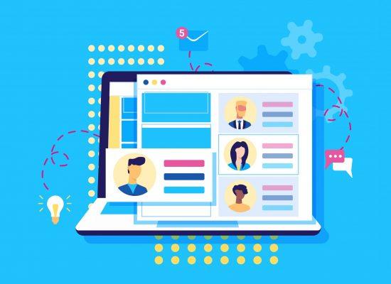 Modern flat design concept of recruiting. Website header of landing page template. Employer, businessman resources, hr job presentation. Vector illustration