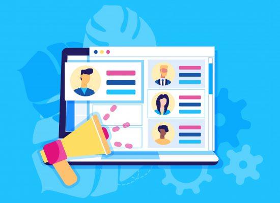 Modern flat design concept of banner for recruiting. Website header of landing page template. Employer, businessman resources, hr job presentation. Vector illustration
